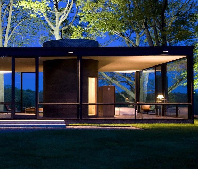 Philip johnson glass house at night new canaan ct architecture pinterest posts glass - Philip johnson glass house ...