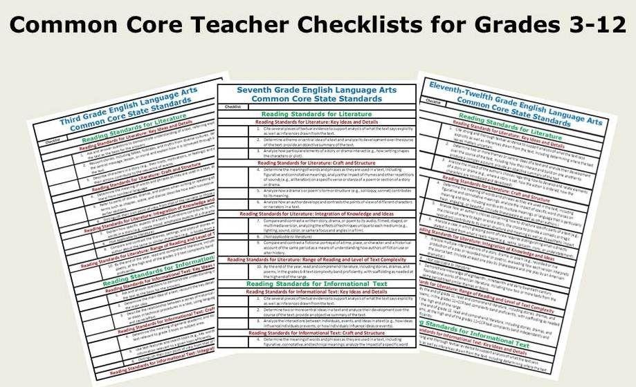 Free ELA Common Core Checklists For Grades 3 12