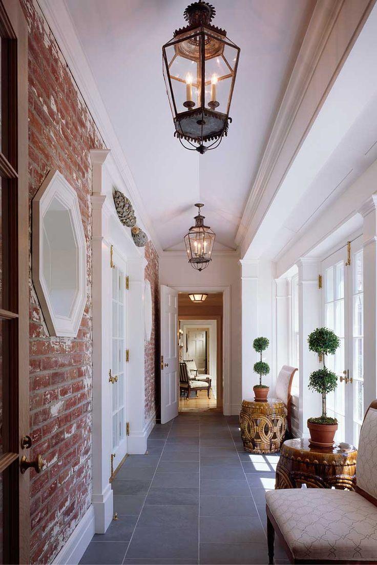 Brick french doors garden stools pendant lights beautiful