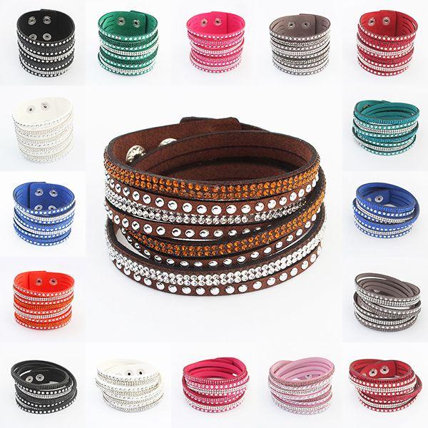 17 KM 17 Colores Nuevo Unisex de Múltiples Capas de Cuero Pulsera Pulseras Del Encanto de la Joyería de La Vendimia Para Las Mujeres Pulsera de Regalo de Navidad