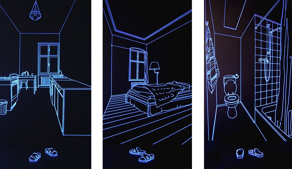 All done with string and blacklights. By Jeongmoon Choi