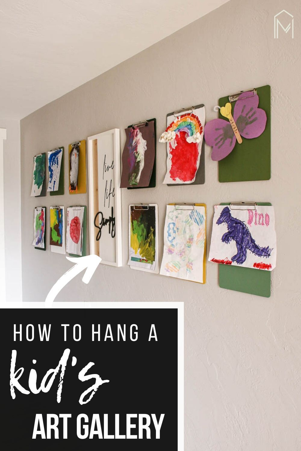 Clipboards On Wall For Hanging Kid S Art Making Manzanita In 2020 Hanging Kids Art Kids Art Galleries Diy Dollar Store Crafts