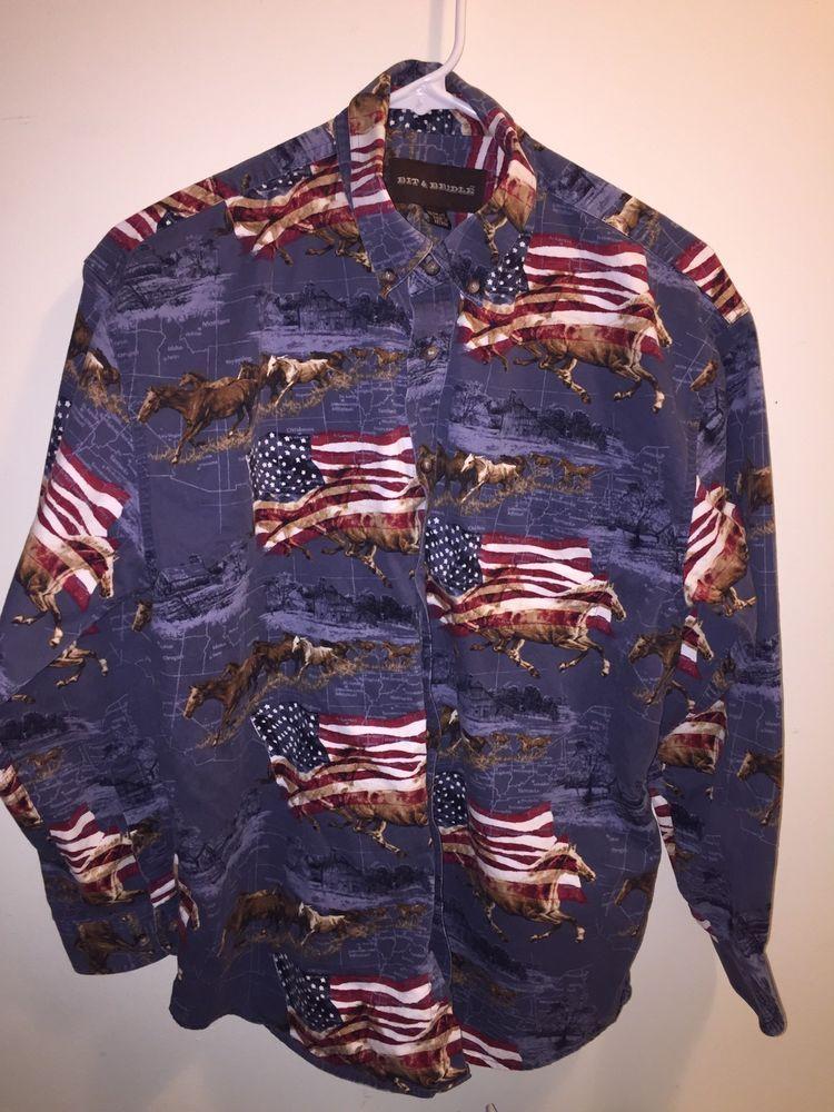 eefd931c BIT & Bridle Boys size L 18 - 20 Western Shirt Long Sleeve Button Front  Horses