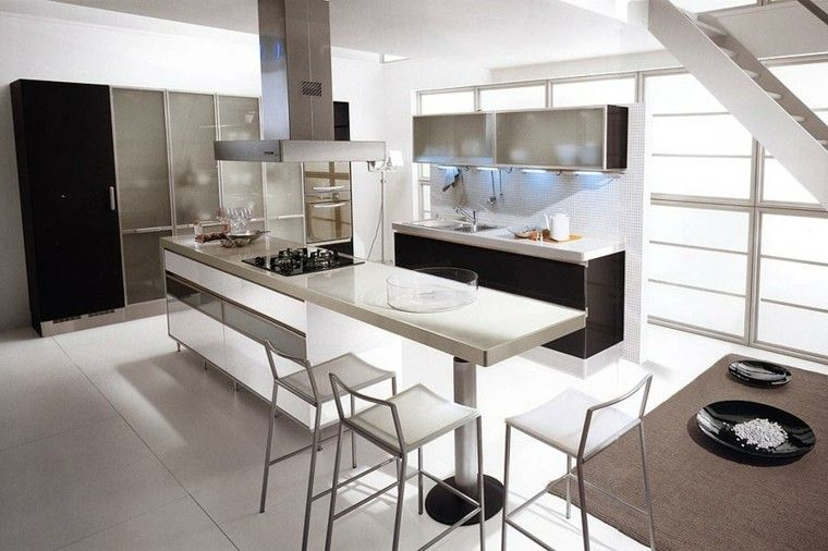 cocinas blancas negras plato decoracion Interiores para cocina