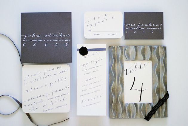 Printable personalised calligraphy invitations for diy brides and