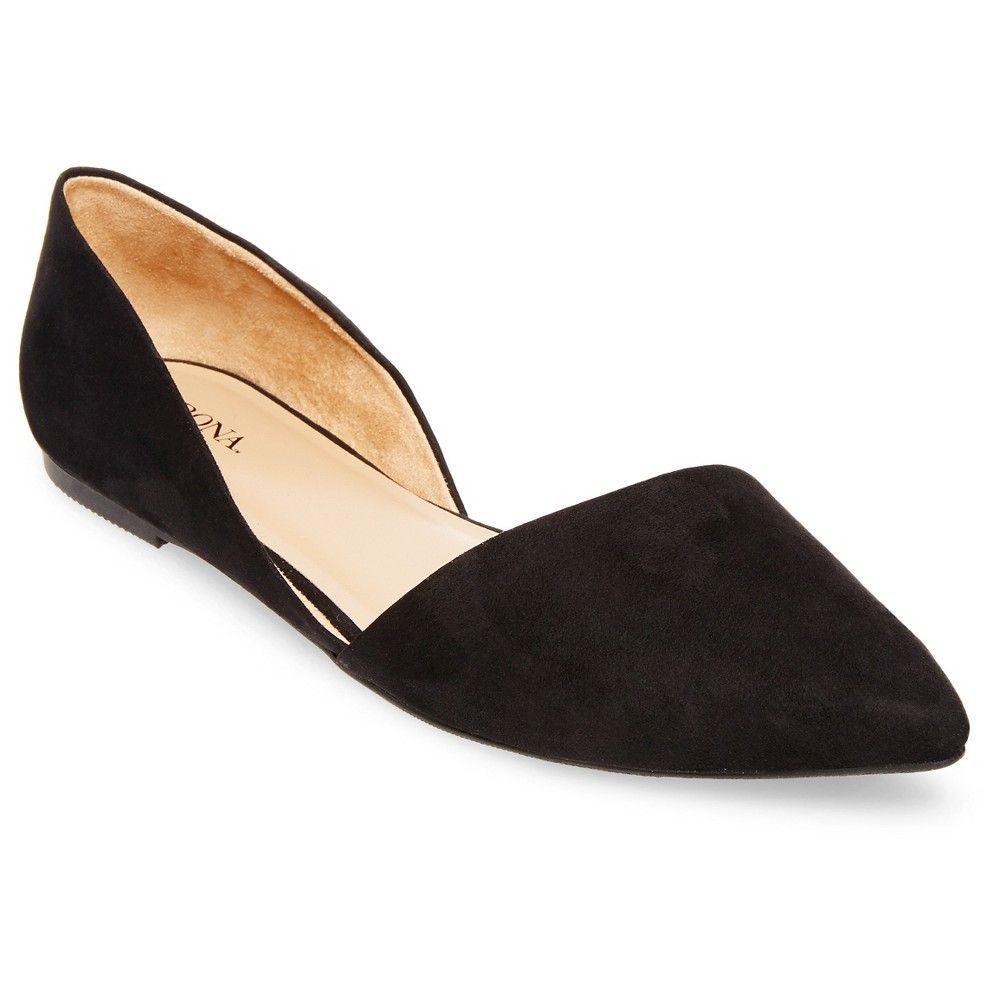 3ed2a194a3d8 Women s Poppy d Orsay Pointed Toe Ballet Flats Black 11 - Merona ...