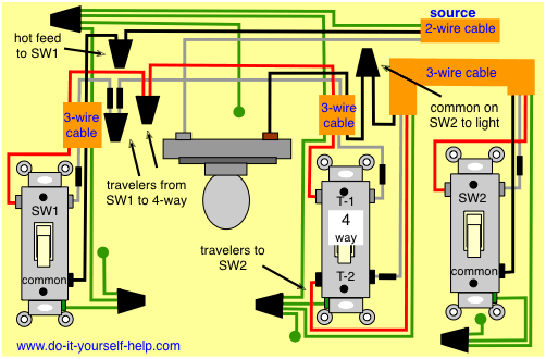 4 Way Switch Wiring Diagrams Light Switch Wiring Home Electrical Wiring 3 Way Switch Wiring