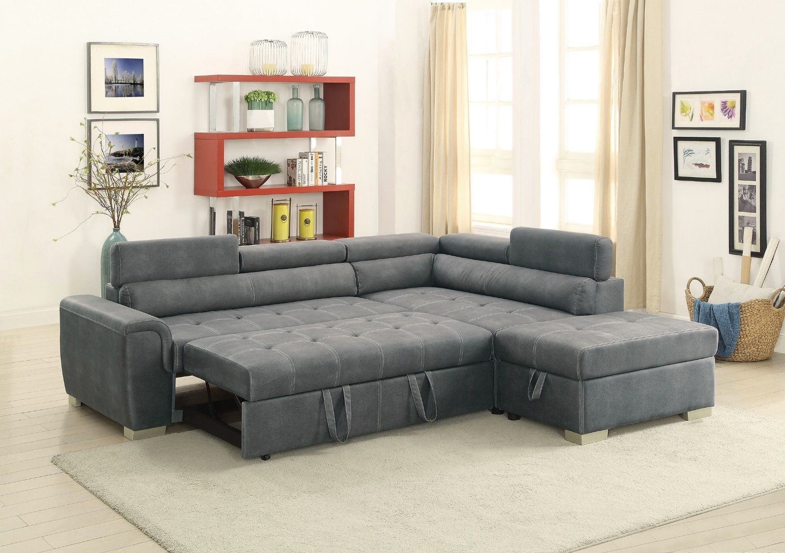 Sectional Grey Breathable Leatherette Chaise Pull Out Sofa Bed Storage Ottoman Fabric Sectional Sofas Sectional Sofa Sectional Sofa Couch