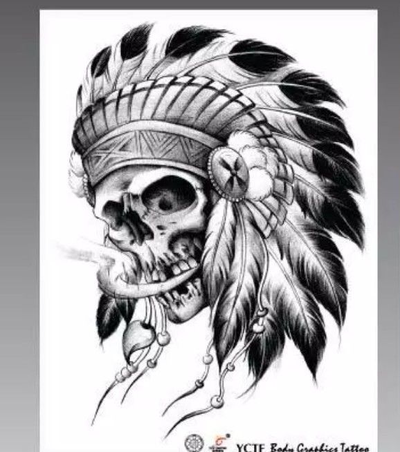 Indian skull totem temporary tattoos cool waterproof tattoos sticker tatto tattoing paint for women arm leg