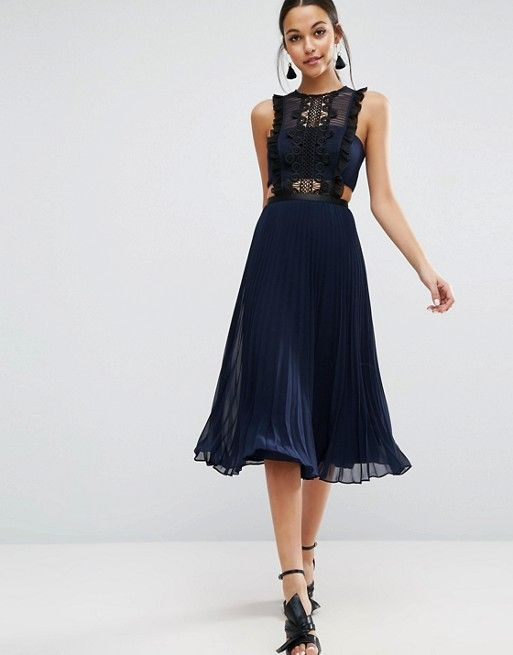 9253f8e0e46 Lace Pinafore Pleated Midi Dress in 2019