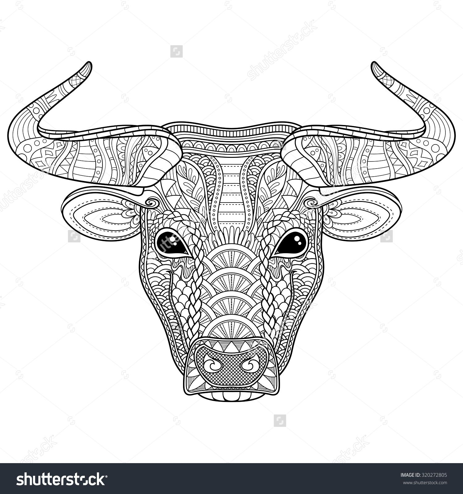Vector tribal decorative bull isolated animal on white background