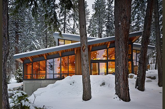 Home: Charming Modern Cabin Design Together With Home Design