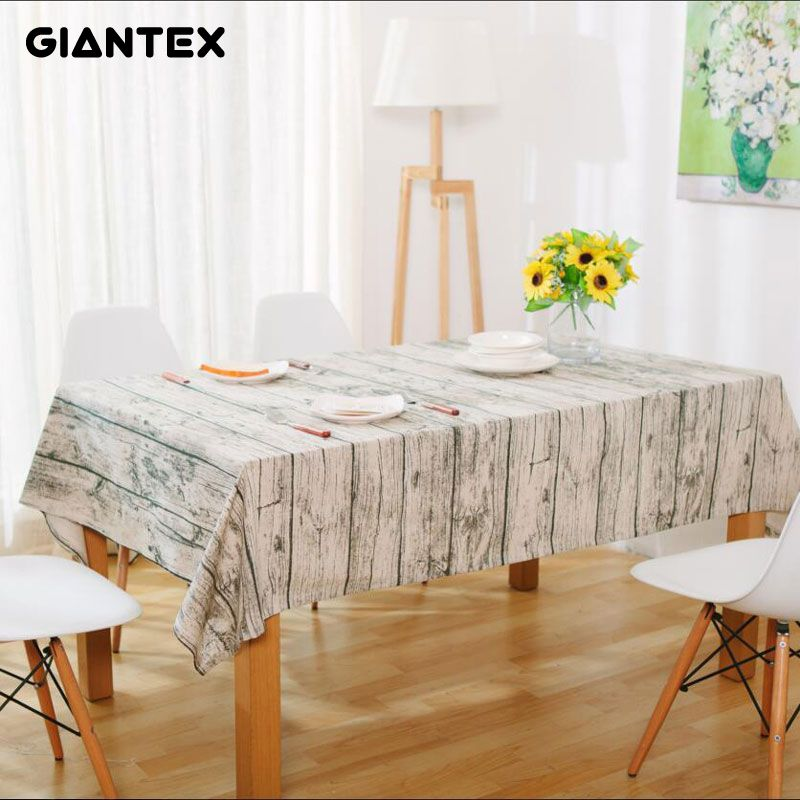 #AliExpress GIANTEX Wood Grain Pattern Decorative Table Cloth Cotton Linen  Tablecloth Dining Table Cover For