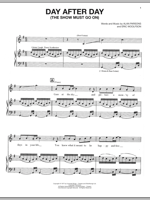 The Alan Parsons Project Day After Day The Show Must Go On Sheet Music Notes Chords Score Download Printable Pdf Sheet Music Notes Sheet Music Music Notes