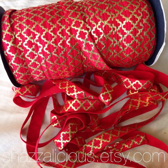 5 Yards Red with Gold Quatrefoil Metallic Patterned Elastic silky 5/8 inch Christmas holiday baby headbands crafts wholesale supply roja