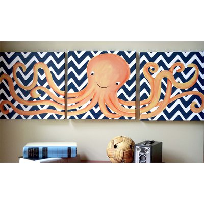 Doodlefish Sea Creatures Oakley Octopus Triptych Canvas Art In 2021 Octopus Nursery Baby Boy Rooms Nursery