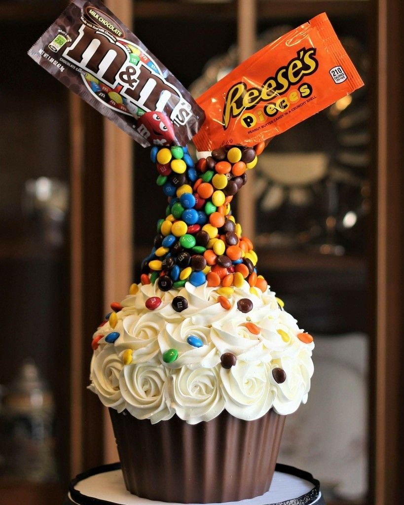 Gravity Defying Giant Cupcake M M S Reeses Pieces With Images