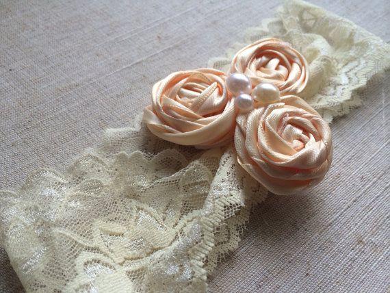"Vintage 2"" lace headband w/ handmade roses. Baby headband, newborn headbands, birthday headband. Baby 1. $6.95"