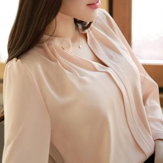 2017 Summer Women Chiffon Blouse Shirts Ladies White Elegant Sexy V-neck Blouse Long Sleeve Shirt Female Office Shirt Plus Size #chiffonshorts