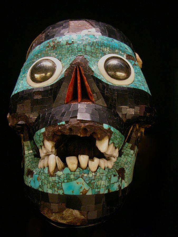 Aztec Mayan Jade Mosaic Skulls Death Mask 13th Century