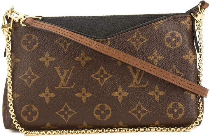 3583bdcdc9e05 Louis Vuitton Clutch Pallas Monogram Black Brown