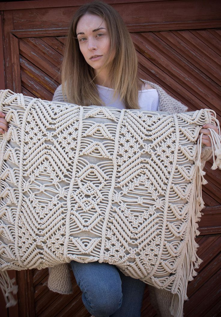 Macrame pillow, boho chic decor, cottage pillow, b