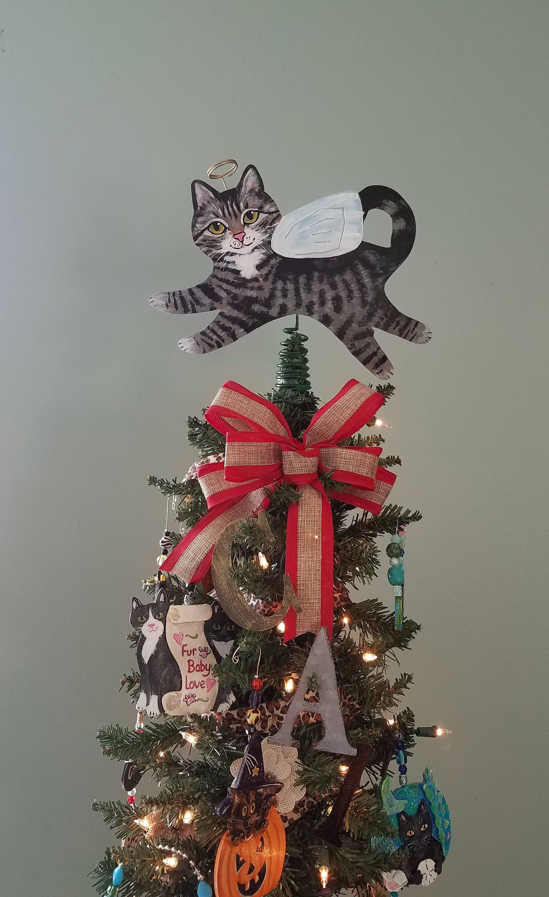 Tabby Cat Angel Tree Topper ~ Tabby Cat ~ Cat