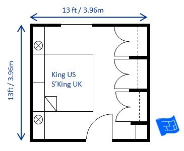 This 13 x 13ft king size bedroom includes space for How to calculate room size in square feet