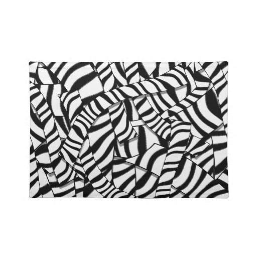 Modern Abstract Black White Zebra Stripes Placemats 20 X 14 Complete Your Dining Table Setting With Custom Place Black Placemats White Zebra Stripes Pattern