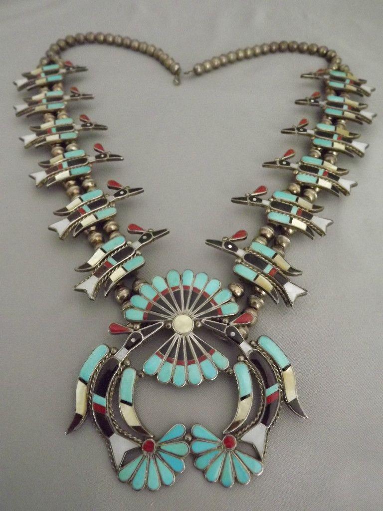 Vintage old pawn zuni l laiwakete multi stone peyote water bird navajo buycottarizona Images