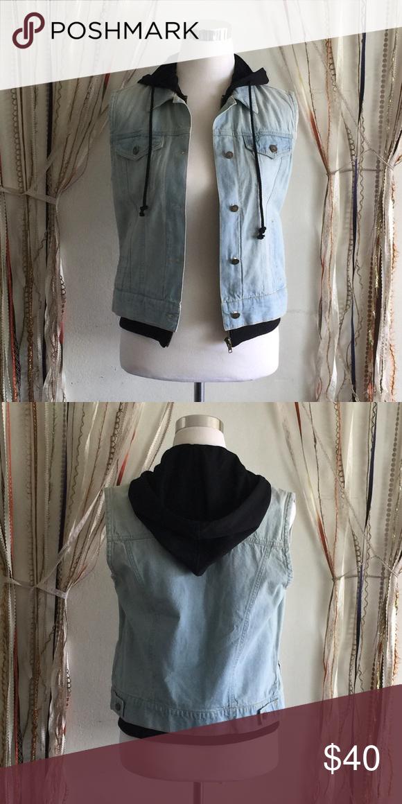 "Light Blue Denim Vest W/Hoodie Self: 100%Cotton Contrast: 100%Polyester   Bust 17"" Length 23""  Imported Paper Crane Jackets & Coats Vests"