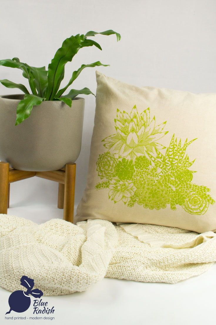 Living room decor cushion cover with green succulent design