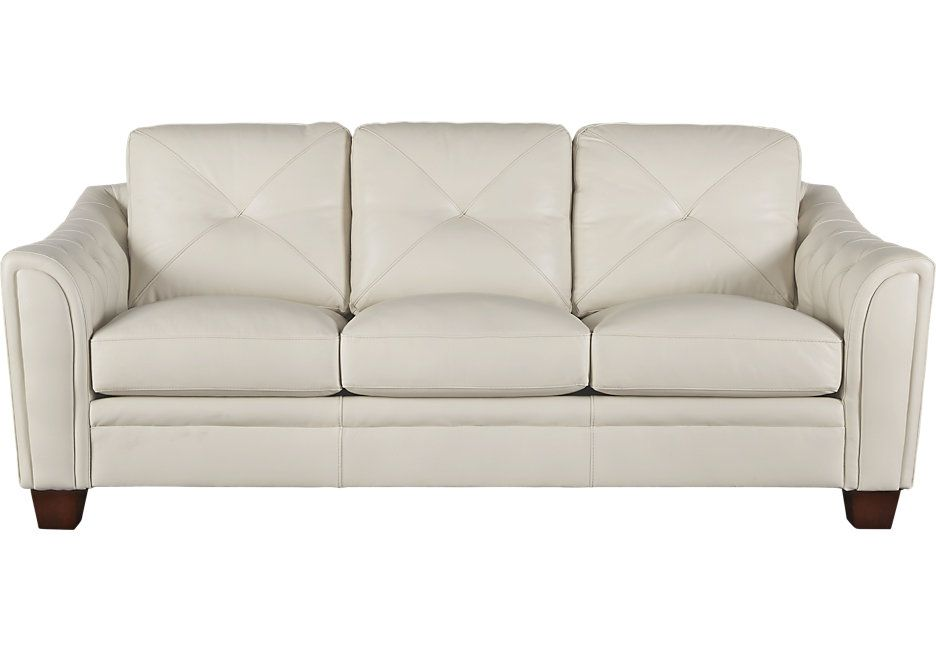 Cindy Crawford Home Marcella Ivory Leather Sofa 999 99 86w X 39d X 36h Find Affordable Leather Sofas For Affordable Sofa Couch And Loveseat Sofa Inspiration