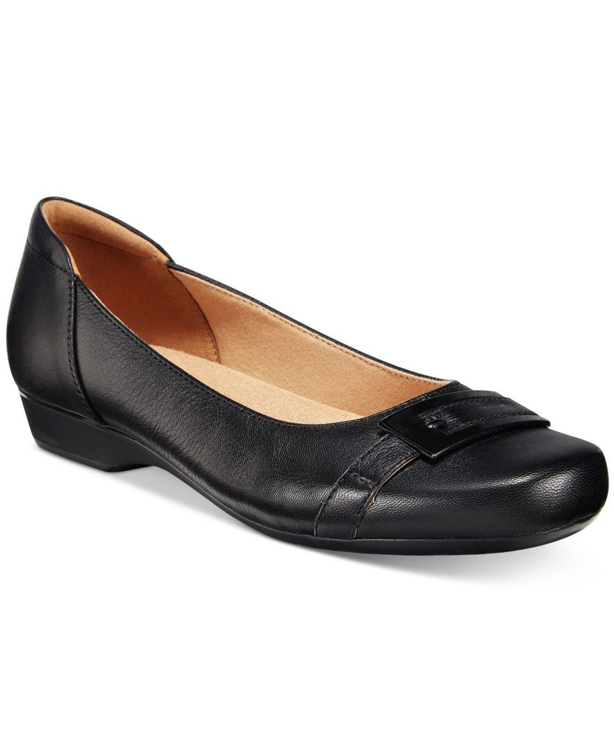 clarks flat black shoes womens