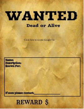 Wanted Poster Template Google Classroom Templates Classroom