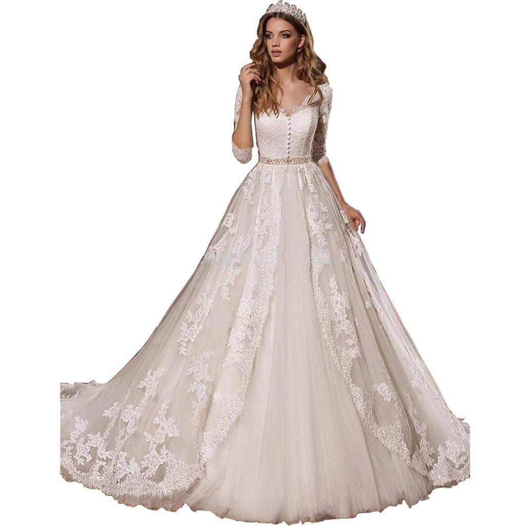 Chady gorgeous long sleeves lace wedding dresses for bride