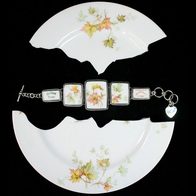Your mother or grandmothers broken china made into a braclet.