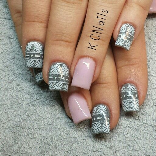 2014 Christmas Nails Pale Pink And Grey Acrylic With Sweater Print Stamp KCNails