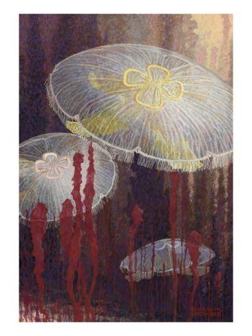 Painting of three Aurelia aurita jellyfish of the variety flavidula Giclee Print by William H. Crowder at eu.art.com