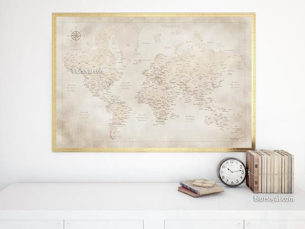 Vintage style world map with cities print 36x24 world map print vintage style world map with cities print 36x24 world map print with capitals gumiabroncs Gallery