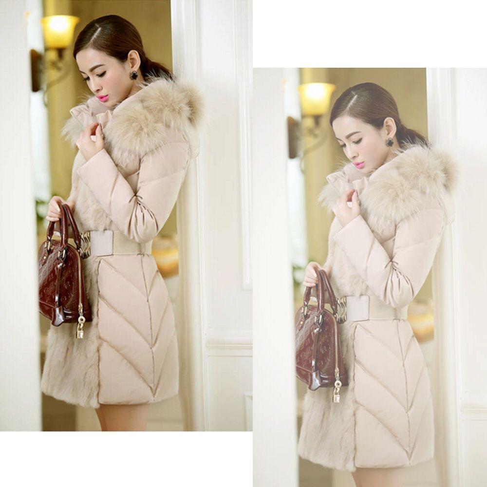 Down Cotton Slim Hooded Women Winter Outwear Long Parka Coat Jacket Fur Collar #New #BasicCoat