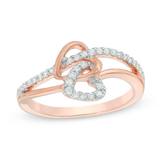 03d3a2c3ff556 1/5 CT. T.w. Diamond Interlocking Double Heart Ring in 10K Rose Gold ...