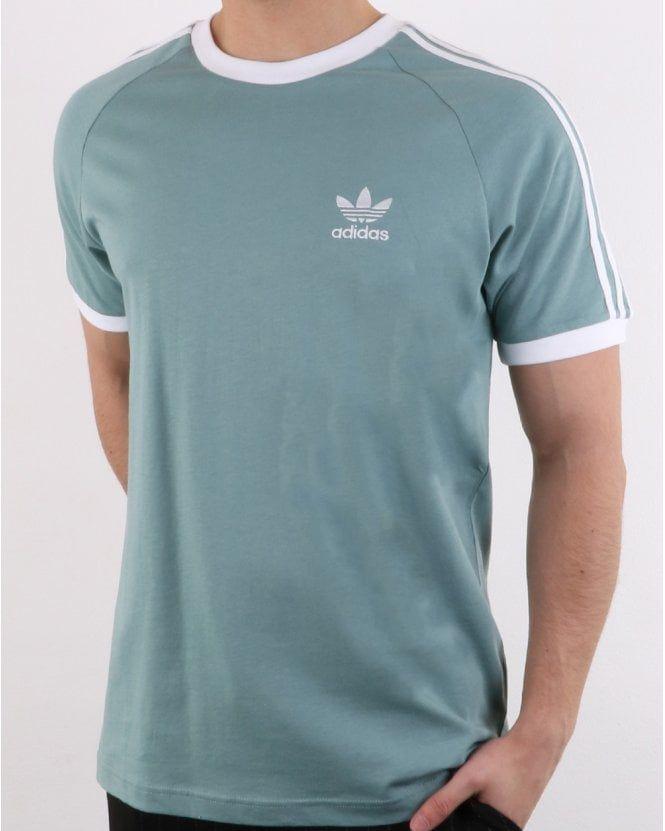 040df434 Adidas Originals 3 Stripes T Shirt Vapour Steel, Adidas tee, Ringer tee