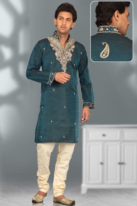 Turquoise Blue Jacquard Readymade Kurta with Churidar   men\'s Indian ...