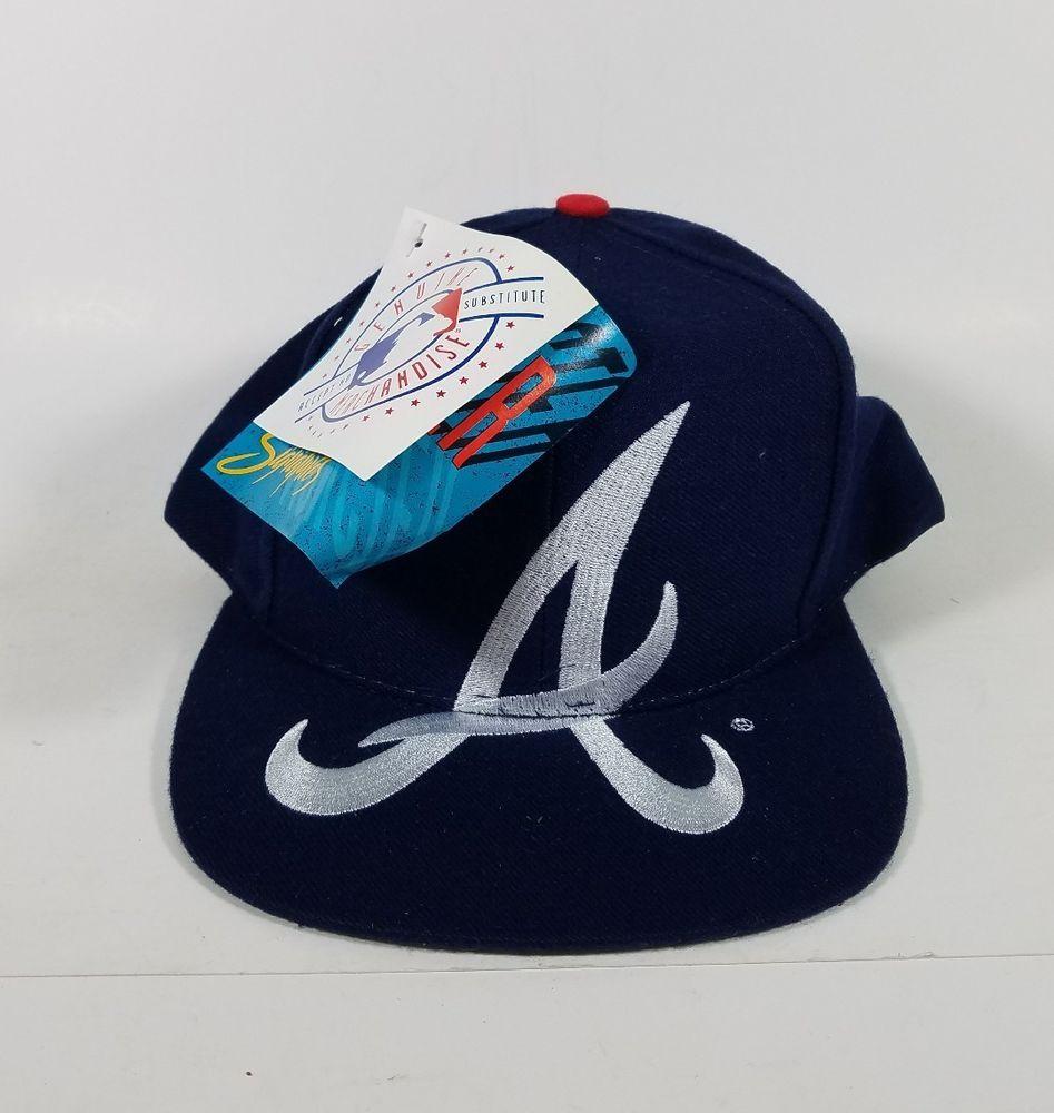 Vtg 90 S New Tags Deadstock Snapback Hat Cap Large Logo Atlanta Braves Nwt Mlb Monster Baseballcap Snapback Hats Atlanta Braves