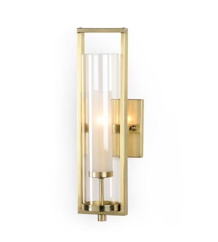 Wildwood Lamps 67072 Antique Brass/Frosted Metal/Glass 1 Light Lancaster Sconce - Brass