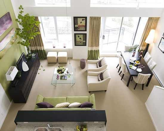 decorating living room dining combo small ideas with black leather sofa a combination design 2014