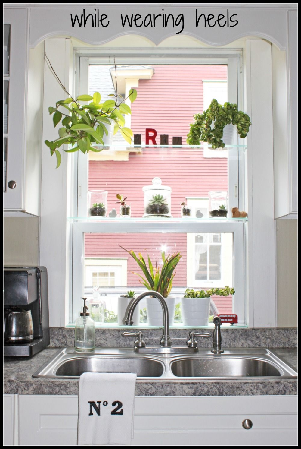 Add glass shelves to any window to make it a greenhouse