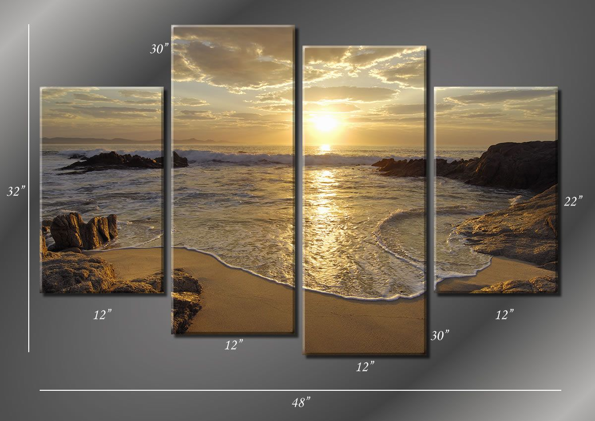 framed hugh 4 panel sunrise sea ocean wave sunset beach canvas giclee canvas print ready to hang