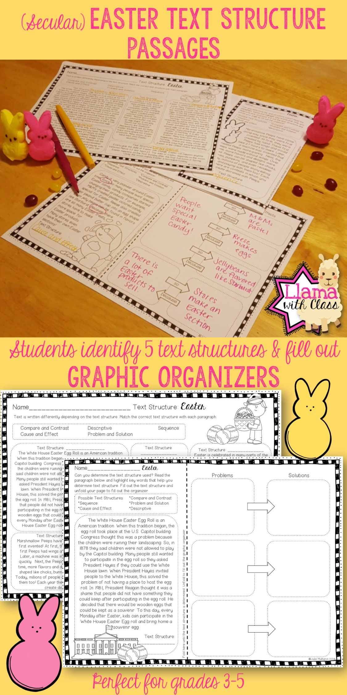 Easter Text Structure Worksheets | Upper Elementary Lesson Ideas